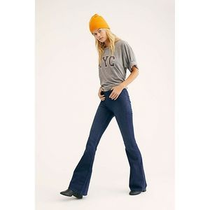Free People Penny Dark Wash Pull On Flare Jeans 31